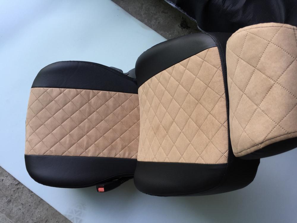 Модельные чехлы на сидения из экокожи  + алькантара  Ромб - 5