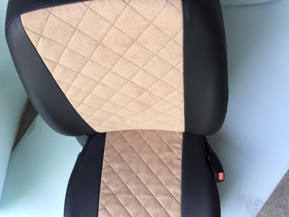 Модельные чехлы на сидения из экокожи  + алькантара  Ромб - 7
