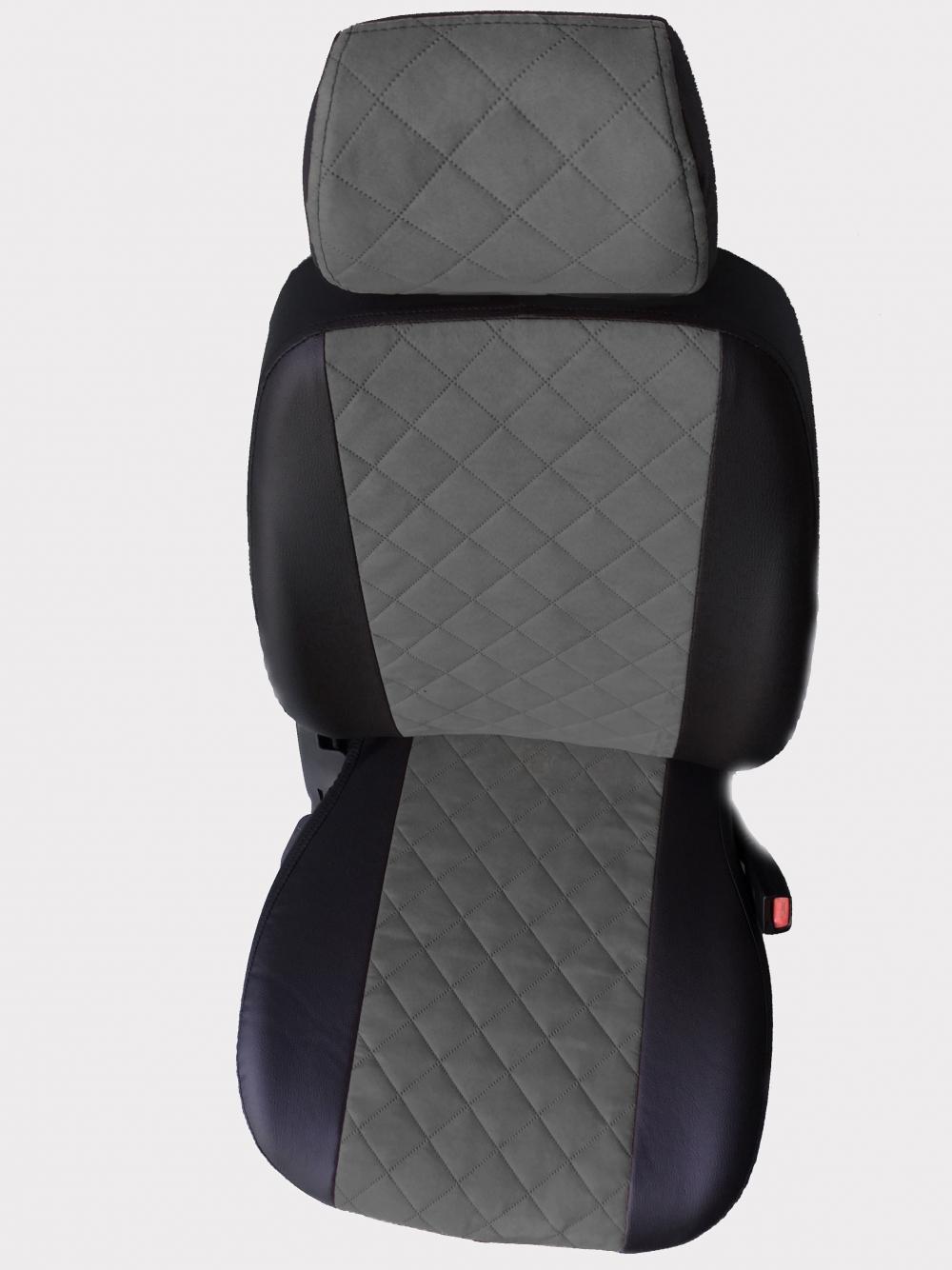 Модельные чехлы на сидения из экокожи  + алькантара  Ромб - 11
