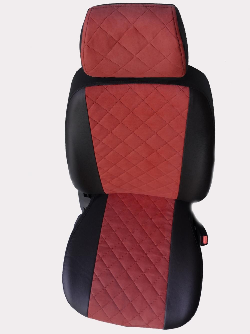 Модельные чехлы на сидения из экокожи  + алькантара  Ромб - 9