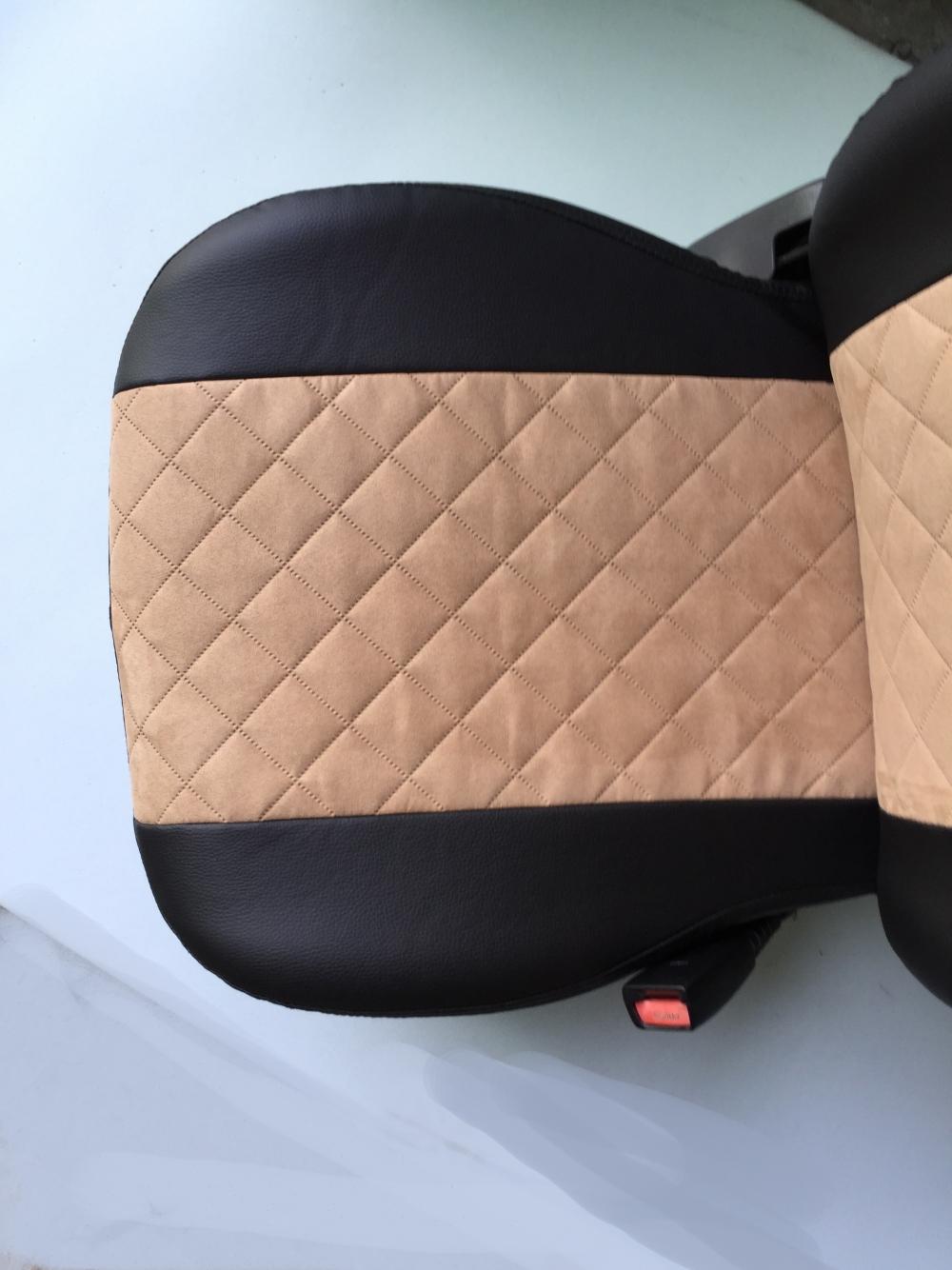Модельные чехлы на сидения из экокожи  + алькантара  Ромб - 4