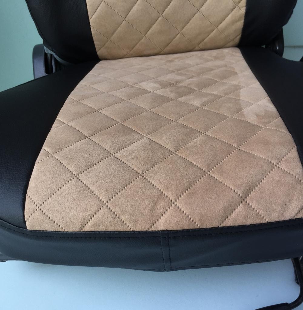 Модельные чехлы на сидения из экокожи  + алькантара  Ромб - 6